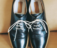 Black and white vintage wedding shoes