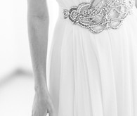 White vintage wedding dress with silver belt