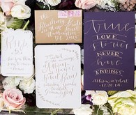 Old World vintage purple and gold wedding invitations