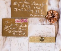 Old World vintage calligraphy invitation set