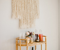 Bohemian bamboo bar cart and decor