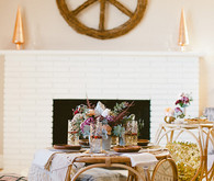 Bohemian New Years brunch lounge and tablescape