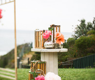 Colorful Malibu ceremony wedding decor