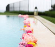 Pink flower pool decor