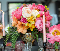 Colorful peony centerpiece