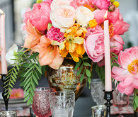 Colorful pink tablescape and flowers