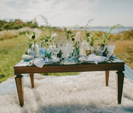 Golden Fall Coastal Wedding Tablescape