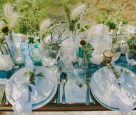 Golden Fall light blue and green tablescape