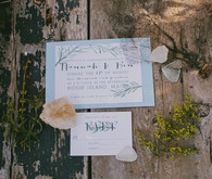 White and light blue coastal wedding invitation