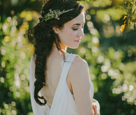 Wedding hairstyle and headpiece