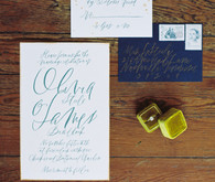 White and blue wedding invitation
