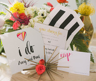 Modern Valentine's Day colorful wedding invitation