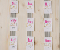Modern Valentine's Day colorful wedding escort cards