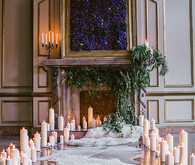 Romantic Luxe wedding altar with candle decor