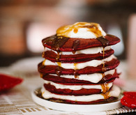 Valentine's Day Inspired red velvet pancakes