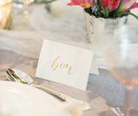 Floral wedding inspired calligraphy name card