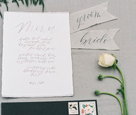 Calligraphed wedding invitations