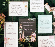 Dramatic floral wedding invitations