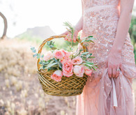 Blush dress and flowers
