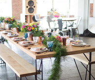 Rustic modern tablescape featuring Yeah Furniture