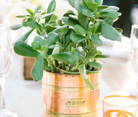 Vintage copper vessel centerpiece