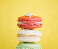 Ring placed on macarons