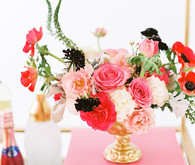 Modern and whimsical pink and red flowers