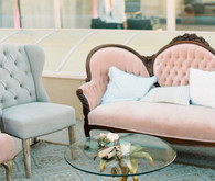 Pink and light blue lounge area