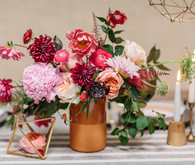 Organic bohemian gold and pink flowers