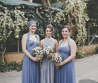 Bridesmaid in blue long dresses