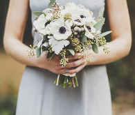 White peony bridesmaid bouquet
