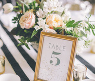 Gold wedding table number