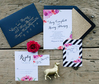 Blue, gold and pink floral wedding invitations