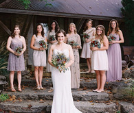 Bridesmaid in purple dresses