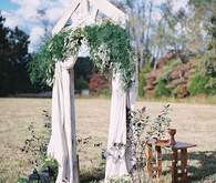 White and green wedding altar
