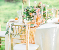 Gold, white and light pink tablescape