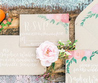 Pastel and gold wedding invitation