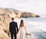 Elegant San Diego wedding beach portrait