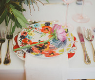 Purple bohemian wedding place setting