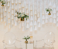 Modern white and pink wedding decor