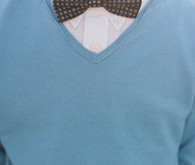 Brown bow tie with blue shirt