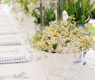 White daisy centerpiece and tablescape
