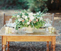 Wood and gold tablescape