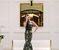 Bride in gold and black dress