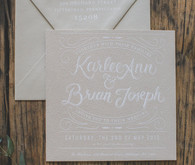 Vintage wedding cream and white invitation
