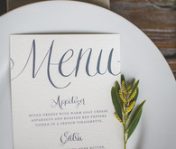 Vintage blue and white menu