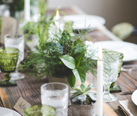 Green and wood rustic tablescape
