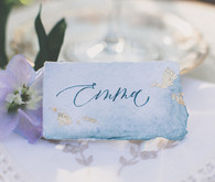 Blue watercolor place cards