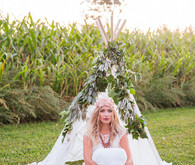 Bohemian bride with teepee