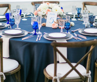 Modern Nautical Wedding Blue and Wooden Tablescape
